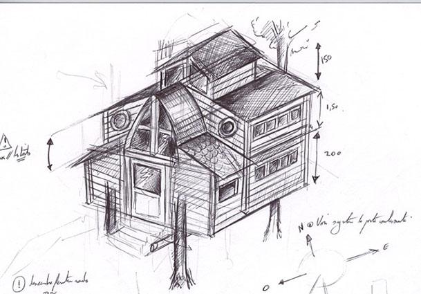 Croquis du projet for Plans de cabanes en bois
